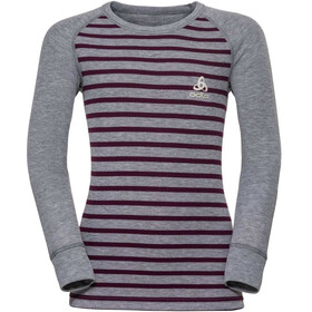 Odlo Active Warm Crew Neck LS Top Kids, grey melange/pickled beet/stripes